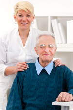 Senior patient with nurse at clinic